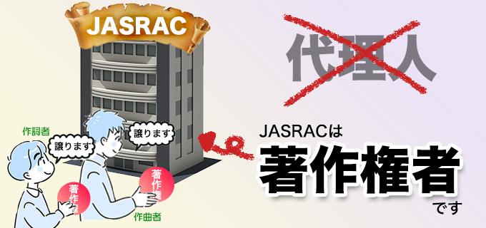 JASRACは代理人ではなく著作権者です
